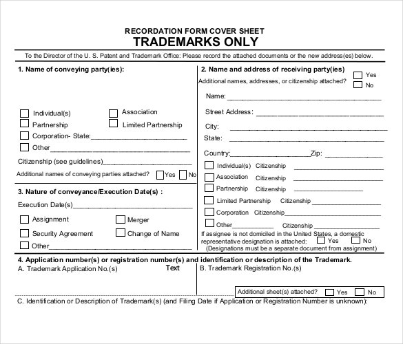 pdf recordation form cover sheet template for trademark use