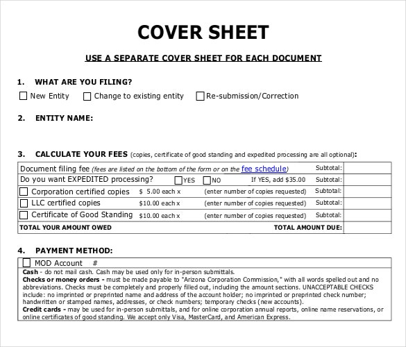 Formal Cover Sheet Template For PDF. Azcc.gov