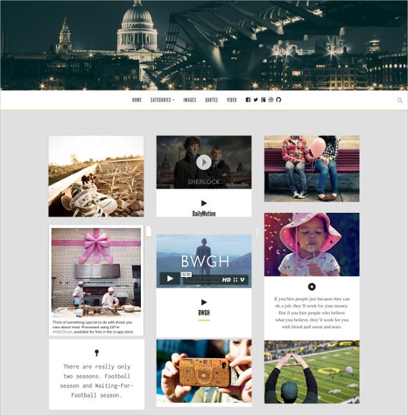 grid based tumblr style wordpress theme
