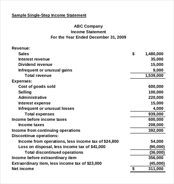 company income statement pdf document