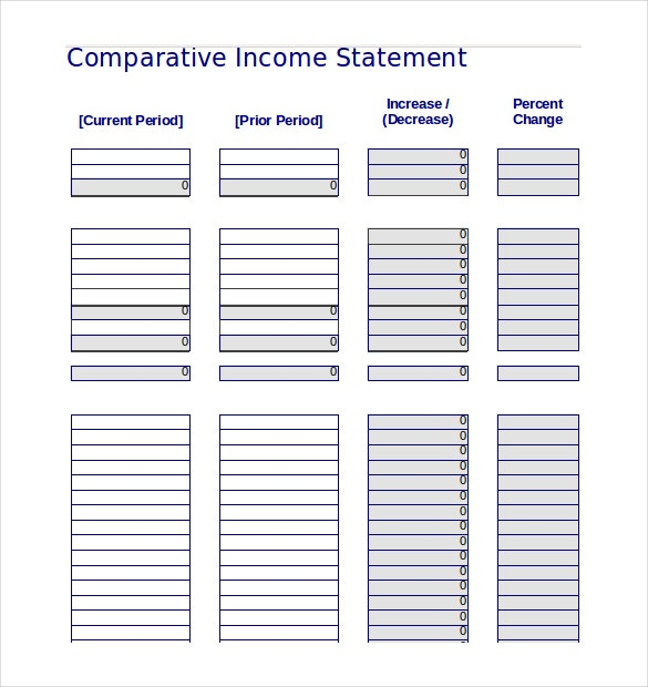 excel document download for comparative income statement template