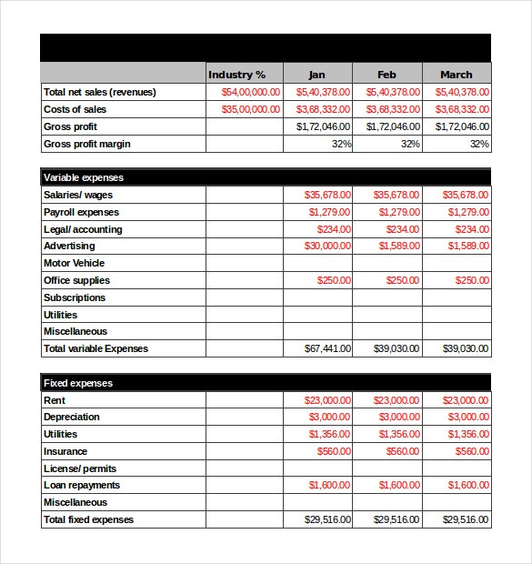 income projection statement template xls