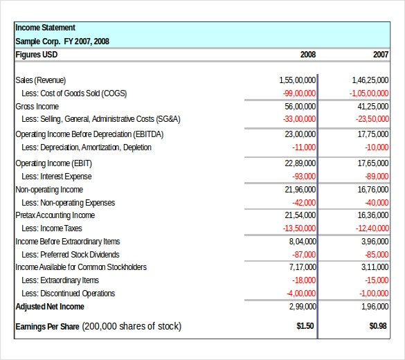 example format income statement template free download