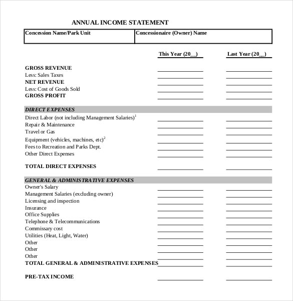 annual income financial statement templates free download in pdf