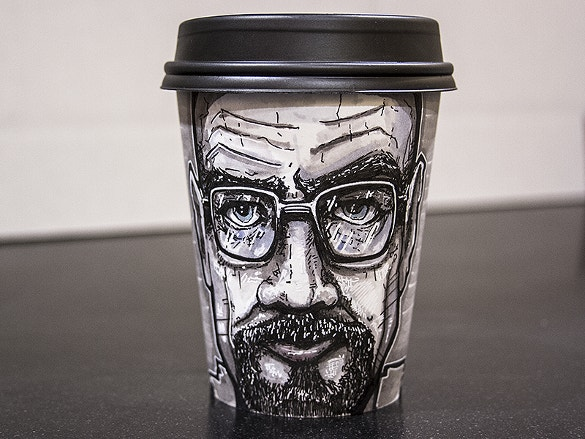 walter white coffee cup art illustration