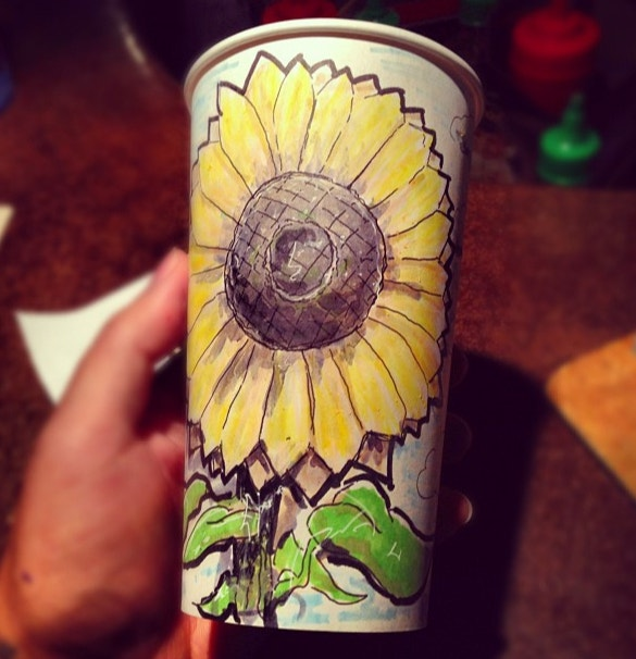 sunflower coffee cup art design
