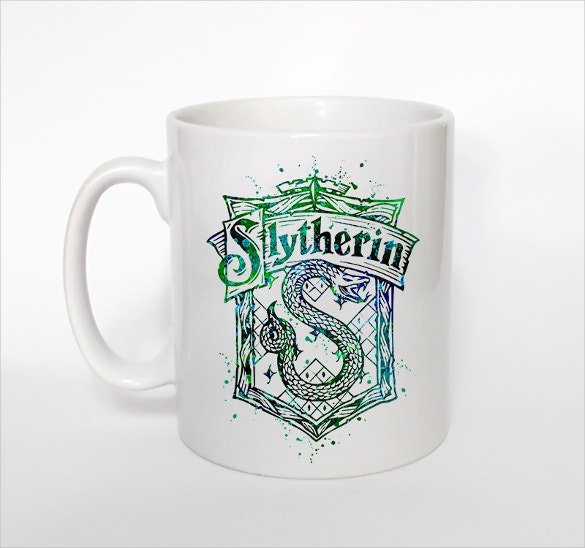 harry potter slytherin crest coffe cup art design
