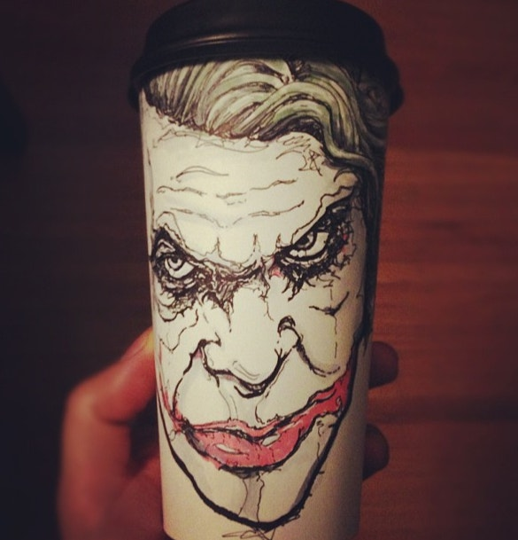 awesome joker coffee cup illustration art