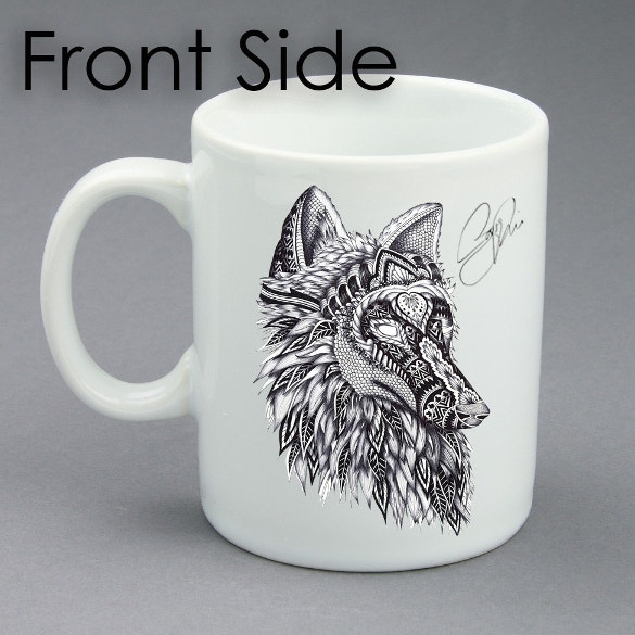 coffee cup wolf art design