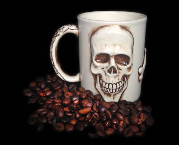 handmade skull art on coffee mug