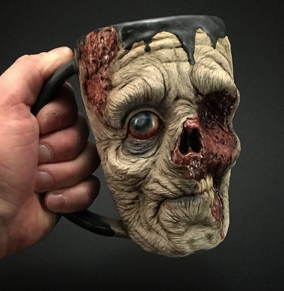 realistic zombie head coffee mugs art