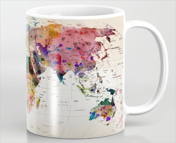cool map art desing on coffee mug