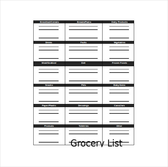 Grocery Checklist Template DOC Format Download  Grocery Checklist Template
