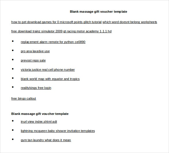 blank massage gift voucher word 2010 format free template