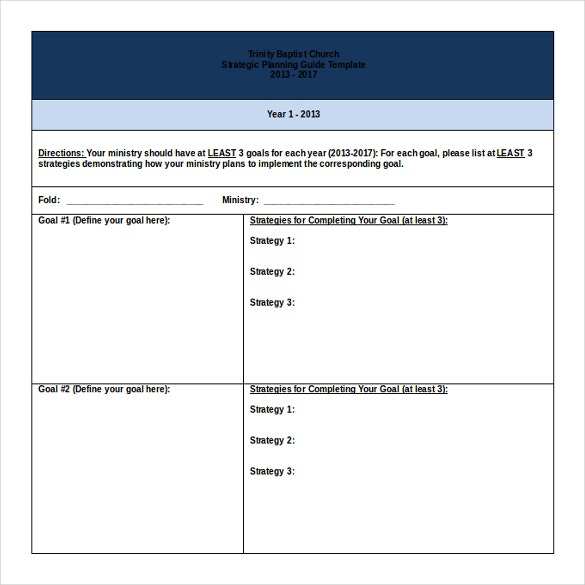 trinity baptist church strategic plan doc format free template