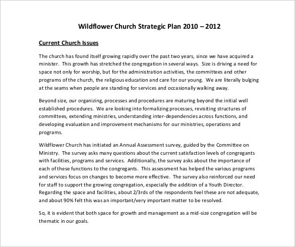 wildflower church strategic plan pdf format free template