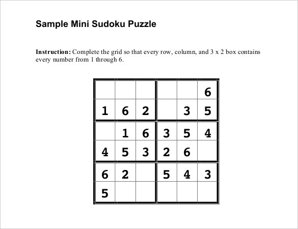 sample mini sudoku puzzle template free download