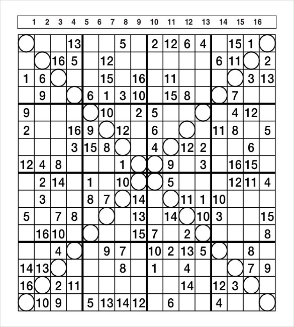 picture about 16 Square Sudoku Printable titled Prinable Sudoku Templates 15+ Absolutely free Term, PDF Data files