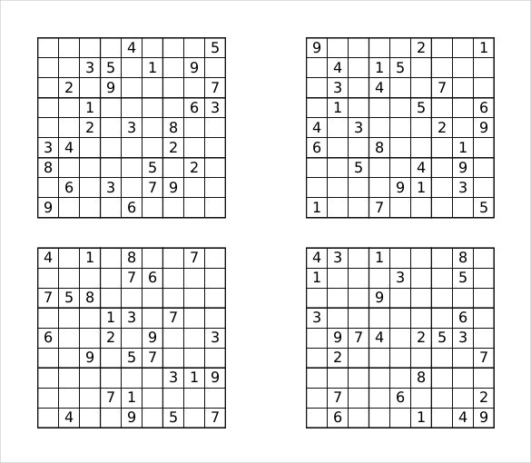 graphic regarding Sudoku Printable Pdf named Prinable Sudoku Templates 15+ No cost Term, PDF Files