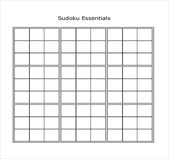 sudoku essential worksheet template pdf format download