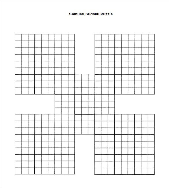 picture about Sudoku Samurai Printable identified as Prinable Sudoku Templates 15+ No cost Term, PDF Information