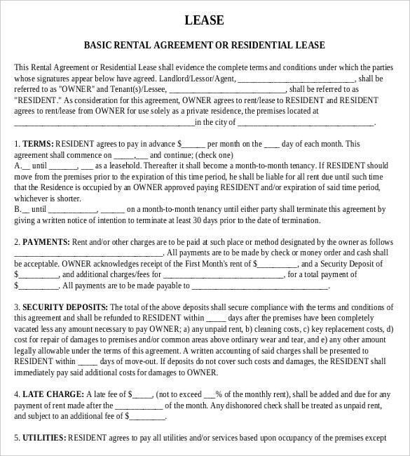Rental agreement templates 15 free word pdf documents for Housing lease template