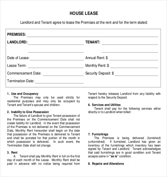 House Rental Agreement. Printable Sample Residential Lease