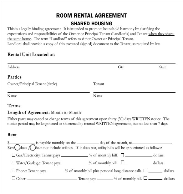 Rental Agreement Templates 15 Free Word PDF Documents Download – Agreement Templates