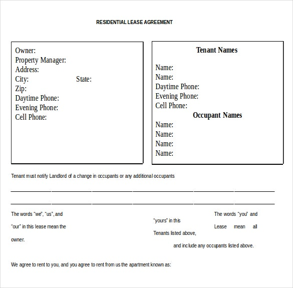 Residential Rental Agreement Template Word Document Download