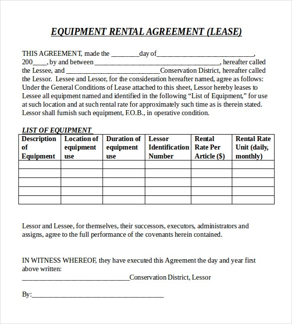 Rental agreement templates 15 free word pdf documents for Equipment hire form template