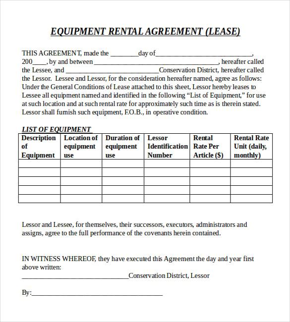 Sample Equipment Rental Agreement Template Datariouruguay