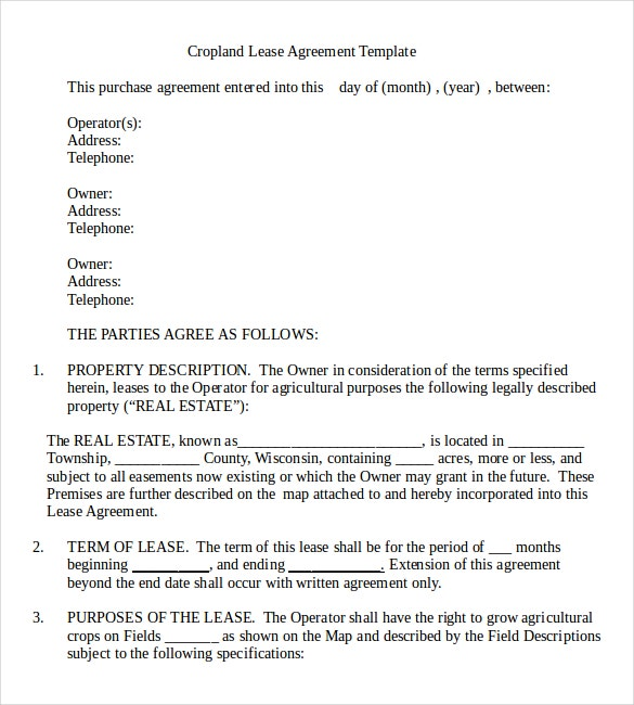 Rental agreement templates 17 free word pdf documents for Land rental contract template