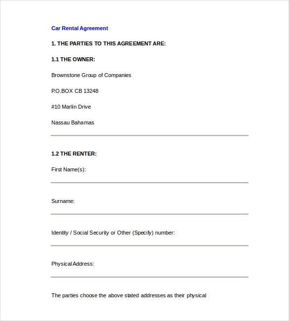 Car Rental Agreement Template Free Word Document