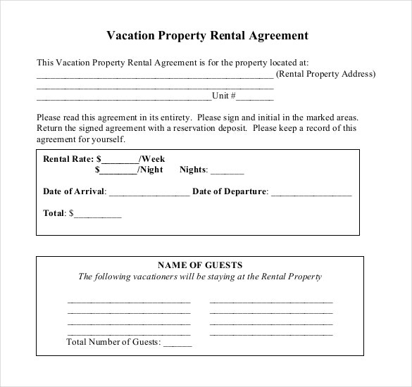PDF Document For Vacation Rental Agreement Template