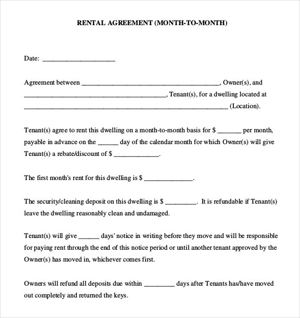 Month To Month Rental Agreement Template Pdf Document Download – Printable Rental Agreement Template