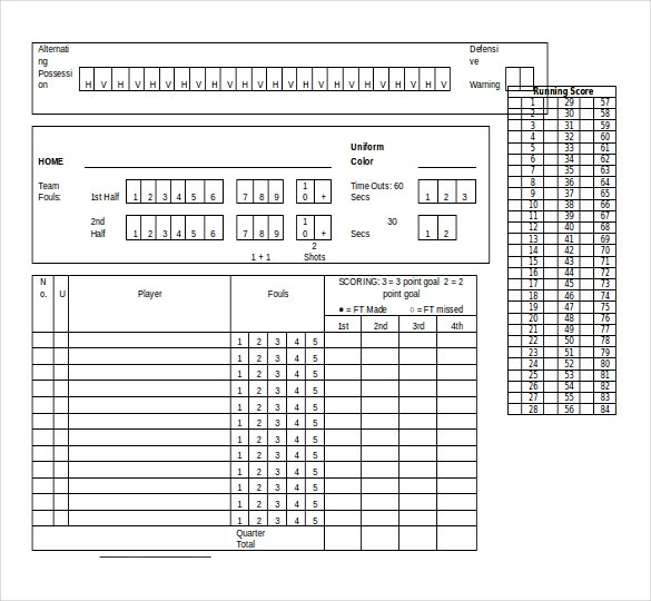 free download basketball scroresheet template ms word format
