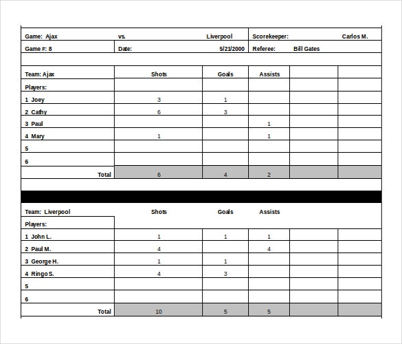 Free Download Scoreboard Templates In Microsoft Word Format
