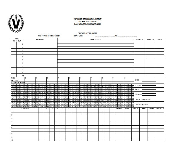 Basketball Score Sheet Excel Free Template tournament bracket – Canasta Score Sheet Template