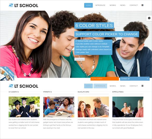 school onepage lms joomla template 19