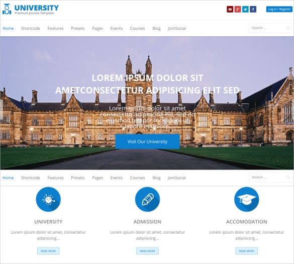 education college lms joomla template