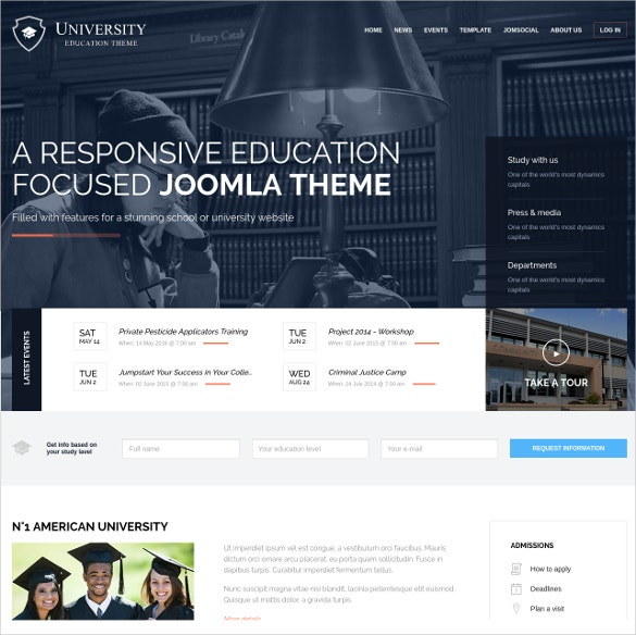 stunning education college lms joomla theme