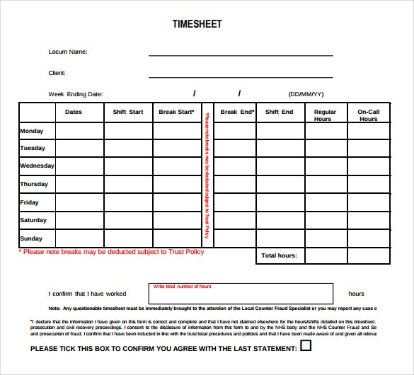 blank numbers timesheet template download in pdf