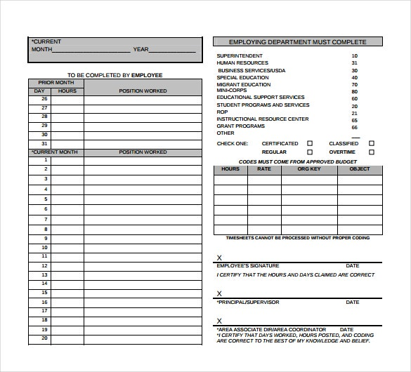 Numbers Timesheet Templates   Free Sample Example Format