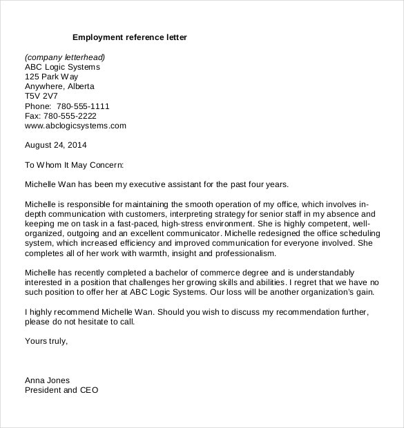 Job Application Reference Letter Template