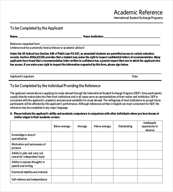 academic reference letter pdf template