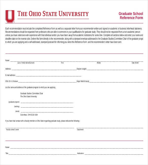 graduate school reference form download in pdf