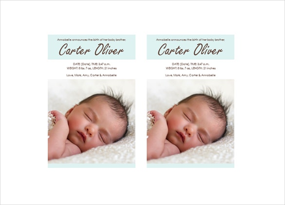 baby boy birth announcement word download
