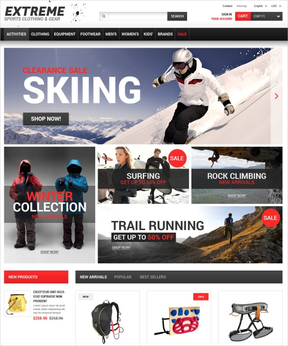 skiing sports prestashop theme 139