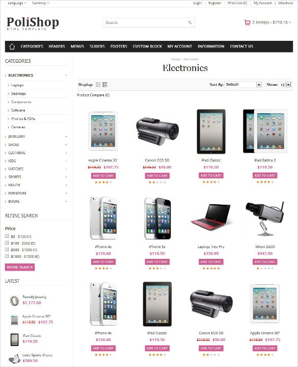 responsive mobile store ecommerce html template