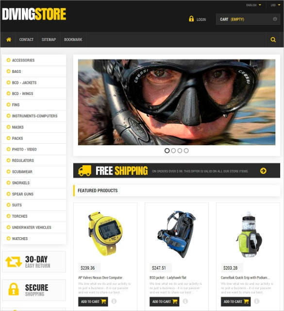 scuba diving sports equipment prestashop theme 139